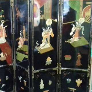 Antique Lacquered Divider Screen with coloured shells