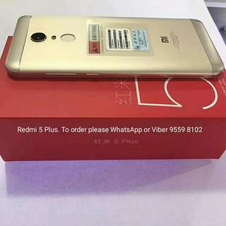 """BRAND NEW Redmi 5 plus, 4+64GB, 5.99"""" FHD, 4000mAh, champagne gold with Google play store."""