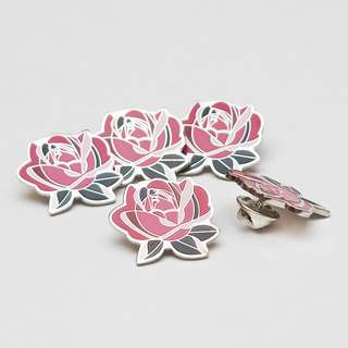 Rose enamel label pin