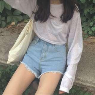 韓版高腰前短後長短褲 淺藍色