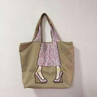 Tote Bag Pink Floral Wedges