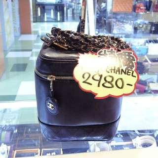 Chanel CC Logo Black Leather Vintage Make Up Box Chain Shoulder Hand Bag 香奈兒 黑色 牛皮 皮革 古董 復古 化妝袋 手挽袋 手袋 肩袋 鍊袋 袋
