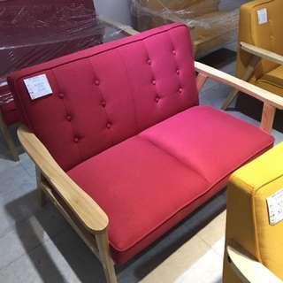 北歐時尚黃色、紅色雙人沙發