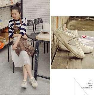 2017春季新款韓版做舊小臟鞋女水鉆系帶平底休閑板鞋學院風運動鞋