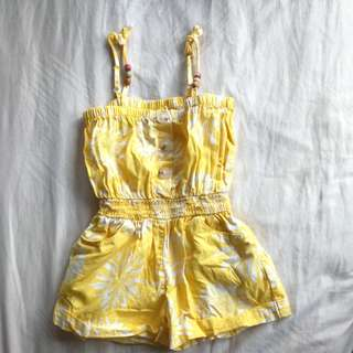Yellow Flowery Baby Playsuit