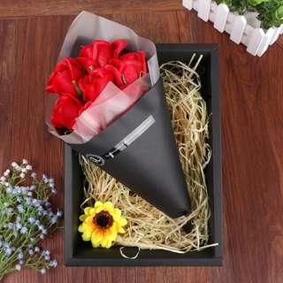 情人節香皂花玫瑰黑色禮盒裝 Valentine's Day The rose flower soap with black box set