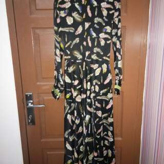 Dress gamis motif bulu