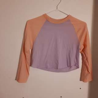 American Apparel cropped baseball tee (size xs/s)