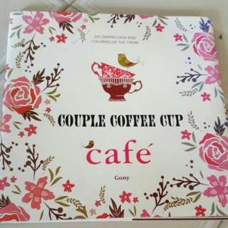 Couple coffee cup Colouring book gony
