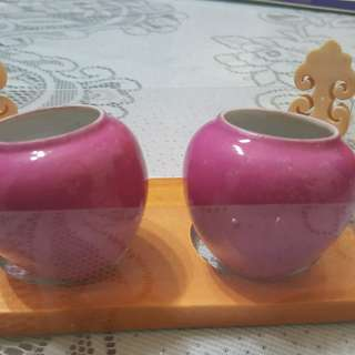 Old HK hwamei/ huay bee cups C/W with old thick Indian flower ivory holders
