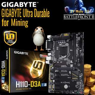 GIGAGYTE GA-H110-D3A Ultra Durable Motherboards for Ultimate Mining. (For 7 GPU)