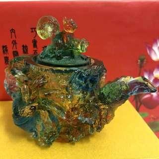 現貨✅浮雕琉璃茶壺