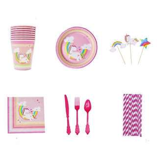 109pc Unicorn Party Tableware Set for 8pax - Paper Plates Cups Straws Cutlery