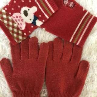 紅色毛手套