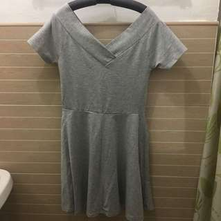 Cotton on Deep V Fit and Flare Grey Dress