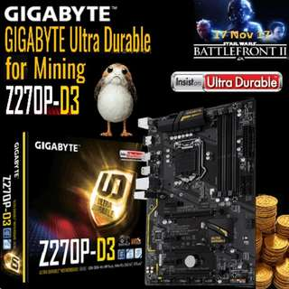 GIGABYTE GA-Z270P-D3 Ultra Durable Motherboards for Ultimate Mining. (For 8 GPU)...*