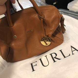 Authentic FURLA tan leather handbag