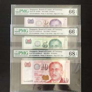 ⭐️ High Grade 68EPQ! 1999 Singapore 🇸🇬 Portraits Series Matching Number 3 Pcs Set, First Prefix Lucky Number 0AA 008220 Gem 💎 UNC With $10 in PMG 68 EPQ