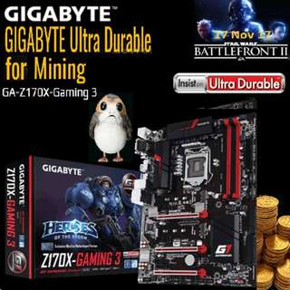 GIGABYTE GA-Z170X-Gaming 3. (For 8 GPU)