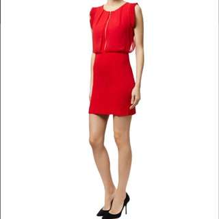 Sandro Red Rizzly Zip Front Dress size xs