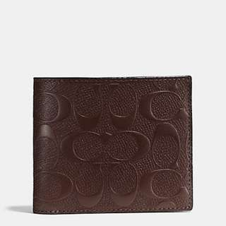 COACH 75371 COMPACT ID WALLET IN SIGNATURE CROSSGRAIN LEATHER
