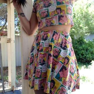 Colourful Comics Cropped Top and Skater Skirt