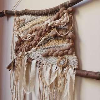 Fibre art woven wall hanging