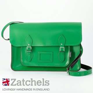 "Zatchels 16"" Green Leather Satchel"