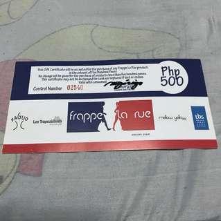 Frappe La Rue Gift Certificate