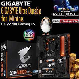 GIGABYTE GA-Z270X-Gaming K5. (For 8 GPU)