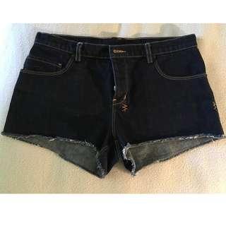Tsubi dark blue denim shorts with button fly