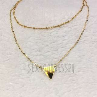 Double Layer Gold Necklace Delicate Triangle Charm