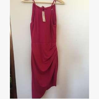 Asymmetric hot pink cocktail dress