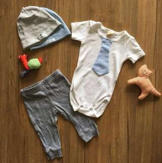Carter cute onesie pants caps set (up to 6m)