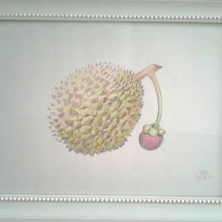 Artist drawn fruits with Colour Pencils with frame S$50.00