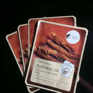 Tony Moly Pureness 100 Mask Sheets (Red Ginseng)
