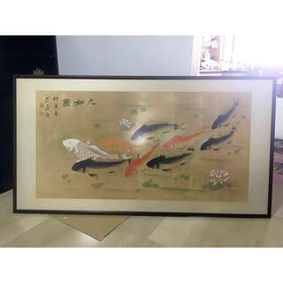 Antique Chinese 9 Fishes Painting Wooden Frame with brackets