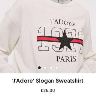 topshop  'J'Adore' Slogan Sweatshirt 大學T