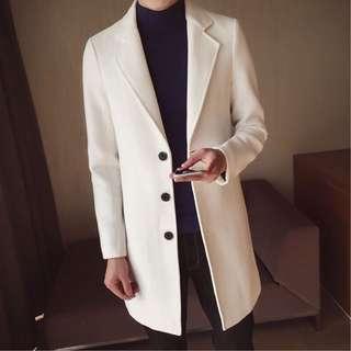 全新/轉賣 原價990 (白M 男女可穿)毛呢翻領排扣大衣外套
