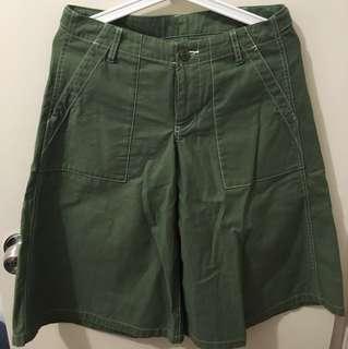 日牌beams boy綠色闊腳褲