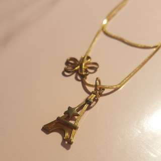 Golden Eiffel Tower and Flower Necklace