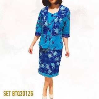 SET Blouse and skirt Batik Biru SET BTQ30126
