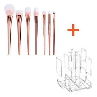 Rose gold make up brushes WITH Holder