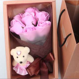 ROSES BOUQUET WITH CUTE BEAR (HAND MADE SOAP FLOWERS) - 11 ROSES