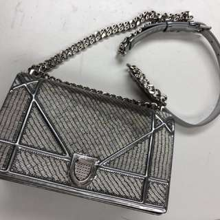 Diorama authentic silver bag dior handbag