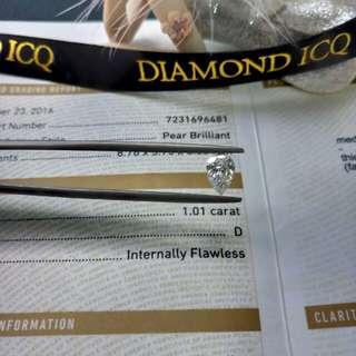 💎Diamond ICQ💎最強D色 IF 完美無瑕閃爆淨度 水滴鑽石 🌸GIA 1.01 D IF EX VG NON💥