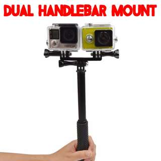 TPG023 Dual Cameare Holder Handlebar Mount for GoPro SJCAM Xiaomi Xiaoyi Yi Camera