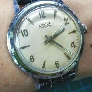 60年代 Gruen Precision 古董錶,原裝雙數字面,無番寫,品相見圖, 17石上鏈機芯,已抹油,行走精神 ,錶頭34mm不連錶的,代用皮錶帶 ,淨錶$650,有意pm