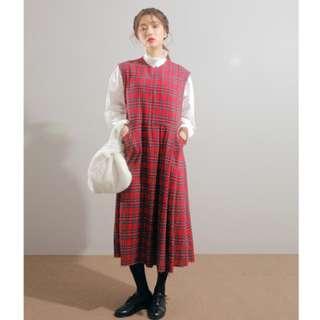 韓國復古撞色格子高腰連身裙