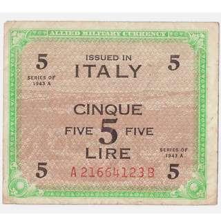 1943A Allied Five Lire Banknote